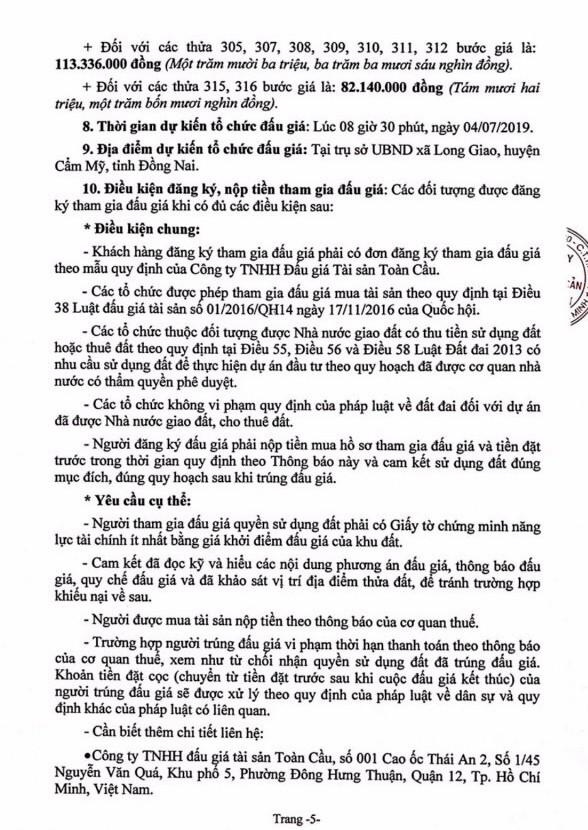 Ngày 4/7/2019, đấu giá quyền sử dụng 18 thửa đất tại huyện Cẩm Mỹ, tỉnh Đồng Nai ảnh 5