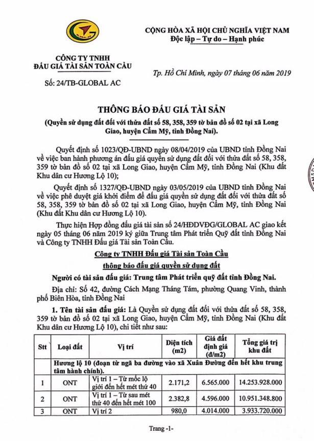 Ngày 4/7/2019, đấu giá quyền sử dụng đất tại huyện Cẩm Mỹ, tỉnh Đồng Nai ảnh 1