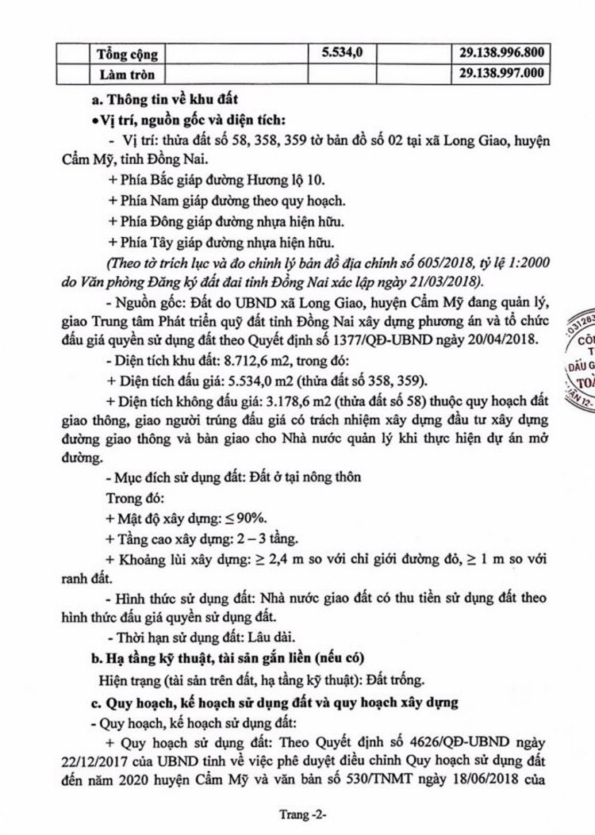 Ngày 4/7/2019, đấu giá quyền sử dụng đất tại huyện Cẩm Mỹ, tỉnh Đồng Nai ảnh 2