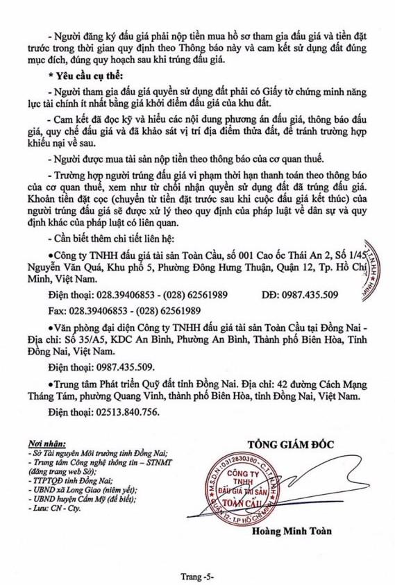 Ngày 4/7/2019, đấu giá quyền sử dụng đất tại huyện Cẩm Mỹ, tỉnh Đồng Nai ảnh 5