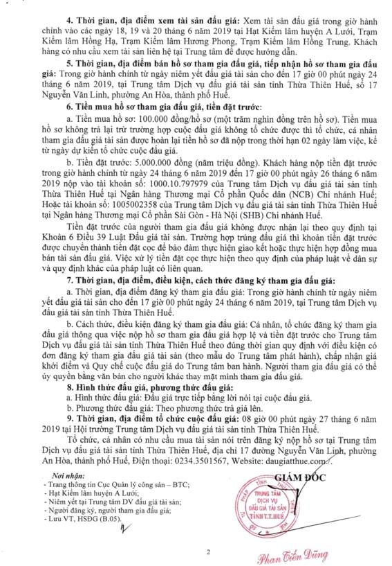 Ngày 27/6/2019, đấu giá tài sản tịch thu sung quỹ nhà nước tại tỉnh Thừa Thiên Huế ảnh 2