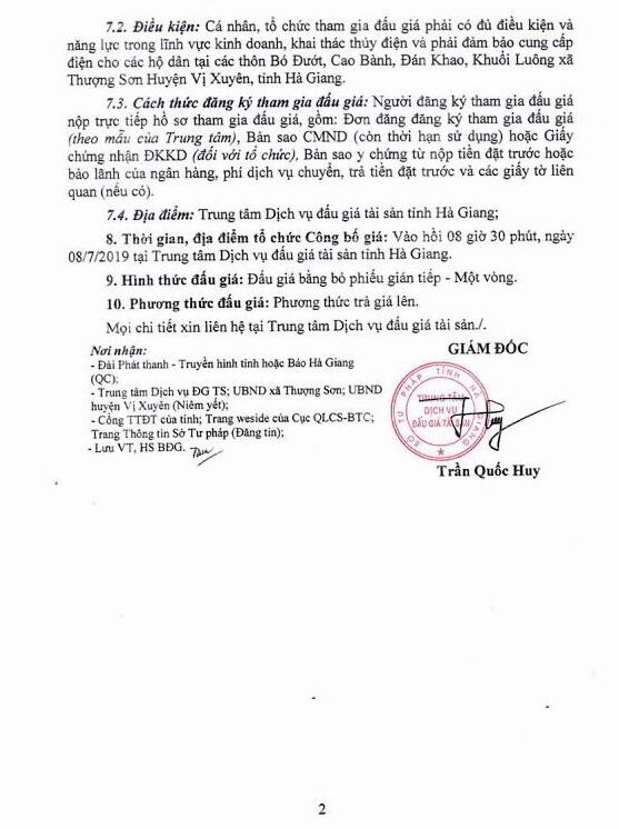 Ngày 8/7/2019, đấu giá công trình Thủy điện Thượng Sơn tại tỉnh Hà Giang ảnh 2