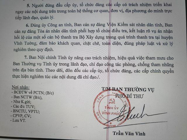 Tỉnh uỷ Vĩnh Phúc chỉ đạo sớm kết luận rõ, xử nghiêm vụ nhận hối lộ của Thanh tra Bộ Xây dựng ảnh 2