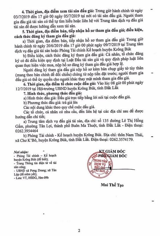 Ngày 12/7/2019, đấu giá quyền sử dụng đất tại huyện Krông Búk, tỉnh Đăk Lăk ảnh 2