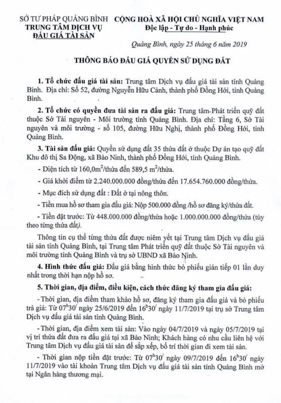 Ngày 14/7/2019, đấu giá quyền sử dụng đất tại TP.Đồng Hới, tỉnh Quảng Bình ảnh 1