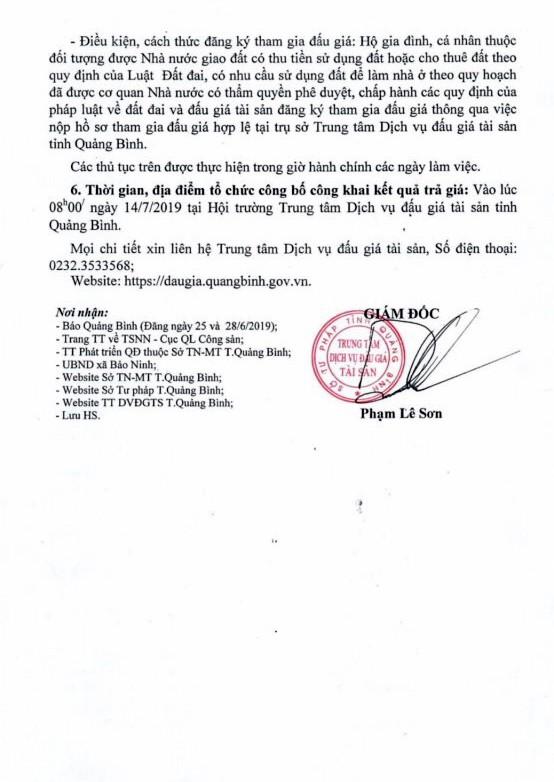 Ngày 14/7/2019, đấu giá quyền sử dụng đất tại TP.Đồng Hới, tỉnh Quảng Bình ảnh 2
