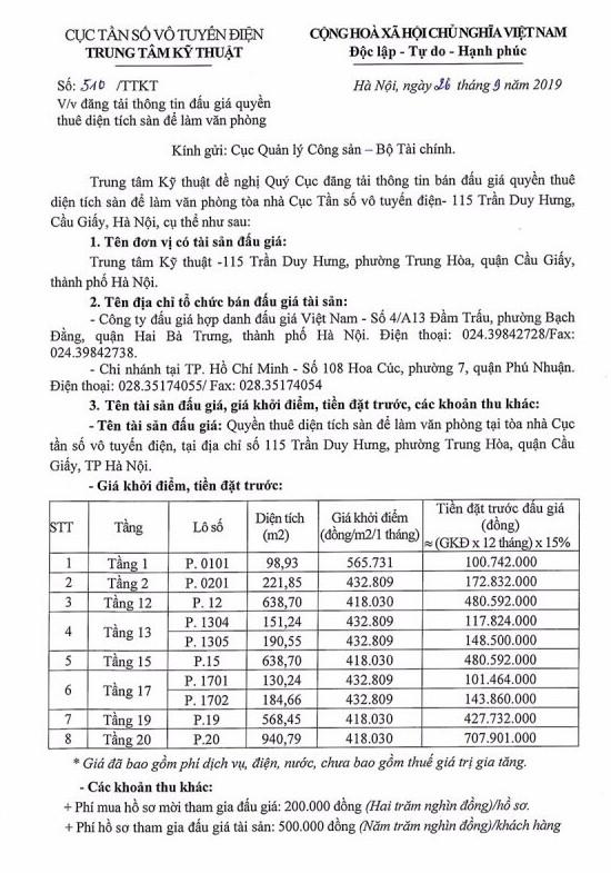 Ngày 22/10/2019, đấu giá quyền thuê diện tích sàn làm văn phòng tại Tòa nhà Cục tần số vô tuyến điện (Hà Nội) ảnh 1