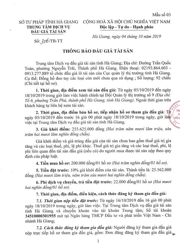 Ngày 21/10/2019, đấu giá tài sản vi phạm tịch thu sung quỹ tại tỉnh Hà Giang ảnh 1