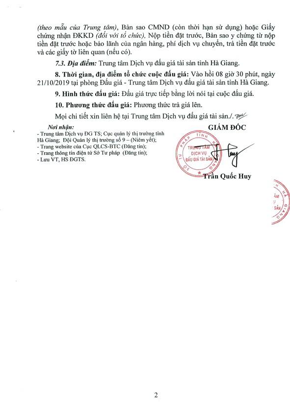 Ngày 21/10/2019, đấu giá tài sản vi phạm tịch thu sung quỹ tại tỉnh Hà Giang ảnh 2