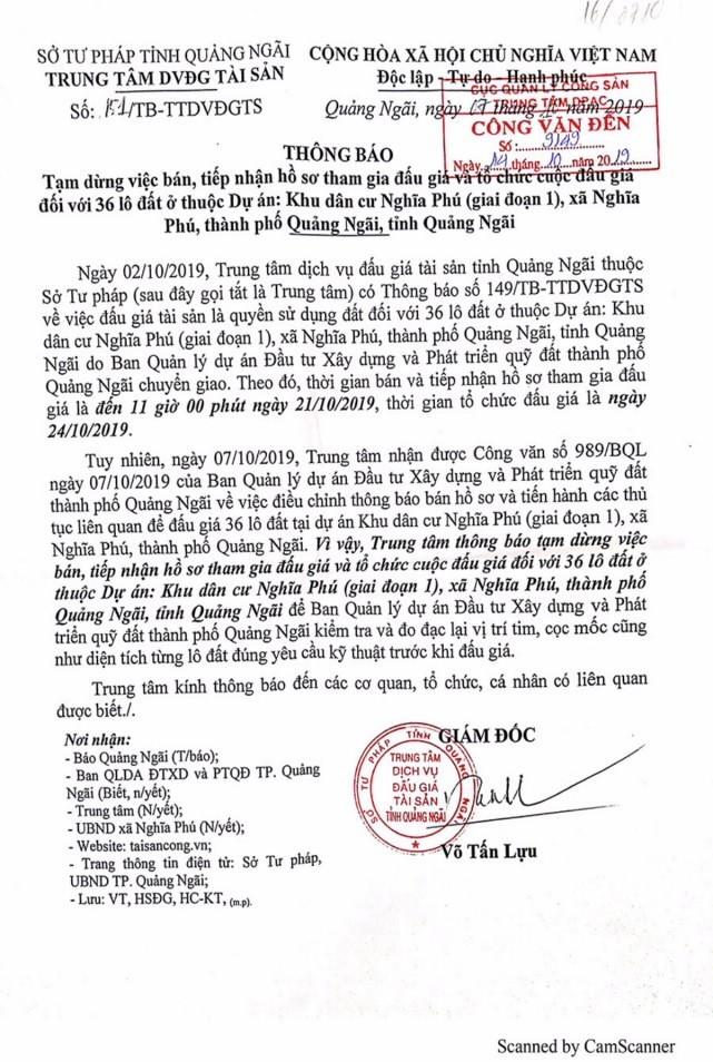 Ngày 24/10/2019, đấu giá quyền sử dụng 36 lô đất tại thành phố Quảng Ngãi, tỉnh Quảng Ngãi ảnh 1