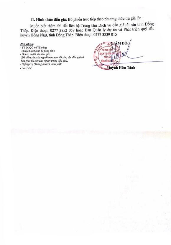 Ngày 6/12/2019, đấu giá quyền sử dụng đất tại huyện Hồng Ngự, tỉnh Đồng Tháp ảnh 2