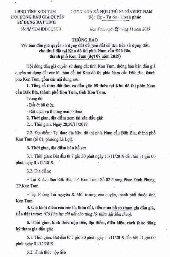 Ngày 6/12/2019, đấu giá quyền sử dụng đất tại thành phố KonTum, tỉnh KonTum ảnh 1