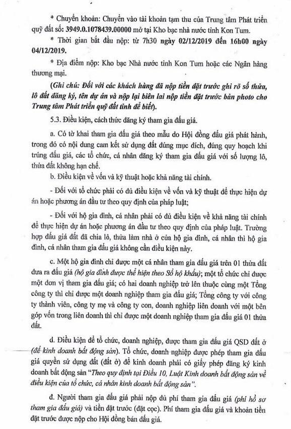 Ngày 6/12/2019, đấu giá quyền sử dụng đất tại thành phố KonTum, tỉnh KonTum ảnh 2