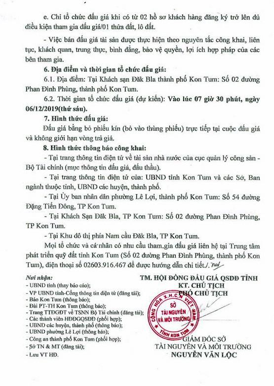 Ngày 6/12/2019, đấu giá quyền sử dụng đất tại thành phố KonTum, tỉnh KonTum ảnh 3