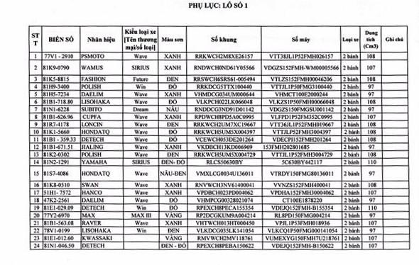 Ngày 19/12/2019, đấu giá phương tiện vi phạm hành chính bị tịch thu sung quỹ tại tỉnh Gia Lai ảnh 1