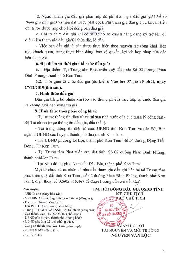 Ngày 27/12/2019, đấu giá quyền sử dụng đất tại thành phố KonTum, tỉnh KonTum ảnh 3