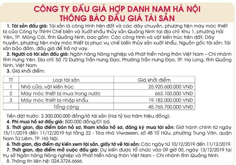 Ngày 13/12/2019, đấu giá Công trình trên đất và dây chuyền máy móc thiết bị tại tỉnh Quảng Ninh ảnh 1