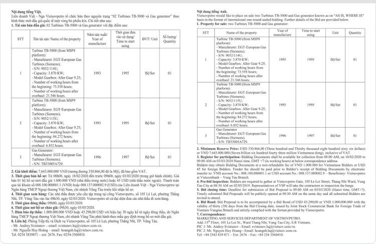 Ngày 3/3/2020, đấu giá 2 Turbines TB-5000 và Gas generator tại tỉnh Bà Rịa – Vũng Tàu ảnh 1