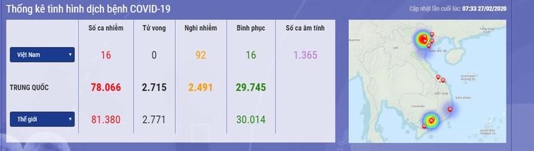 Cập nhật lúc 7h00 ngày 27/2: 44 quốc gia/vùng lãnh thổ ghi nhận nhiễm dịch COVID-19 ảnh 1
