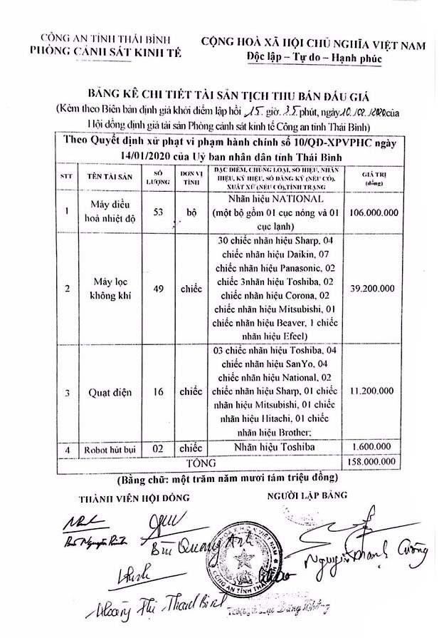 Ngày 19/3/2020, đấu giá tài sản tịch thu sung công quỹ nhà nước tại tỉnh Thái Bình ảnh 3