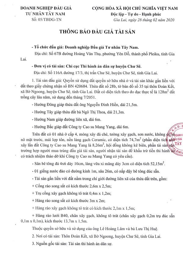 Ngày 27/3/2020, đấu giá quyền sử dụng đất tại huyện Chư Sê, tỉnh Gia Lai ảnh 1