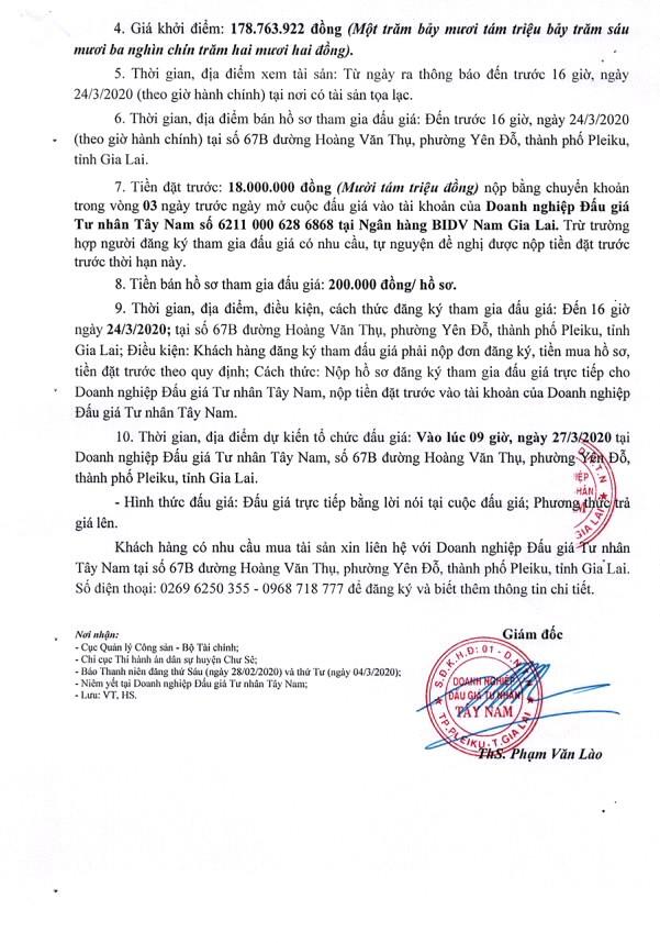 Ngày 27/3/2020, đấu giá quyền sử dụng đất tại huyện Chư Sê, tỉnh Gia Lai ảnh 2