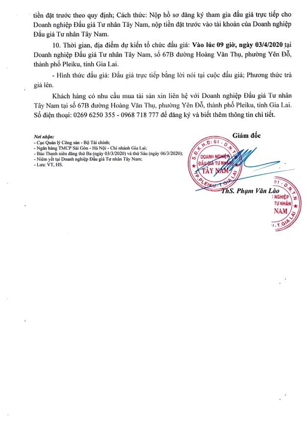 Ngày 3/4/2020, đấu giá quyền sử dụng đất tại huyện Chư Sê, tỉnh Gia Lai ảnh 2
