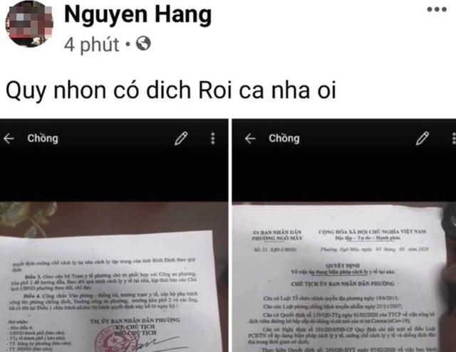 """Bình Định: Sinh viên du học về cách ly tại nhà, Facebooker loan tin """"Quy Nhơn có dịch"""" ảnh 1"""