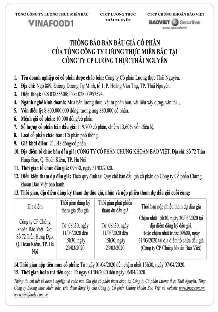 Ngày 31/3/2020, đấu giá cổ phần Công ty CP lương thực Thái Nguyên ảnh 1