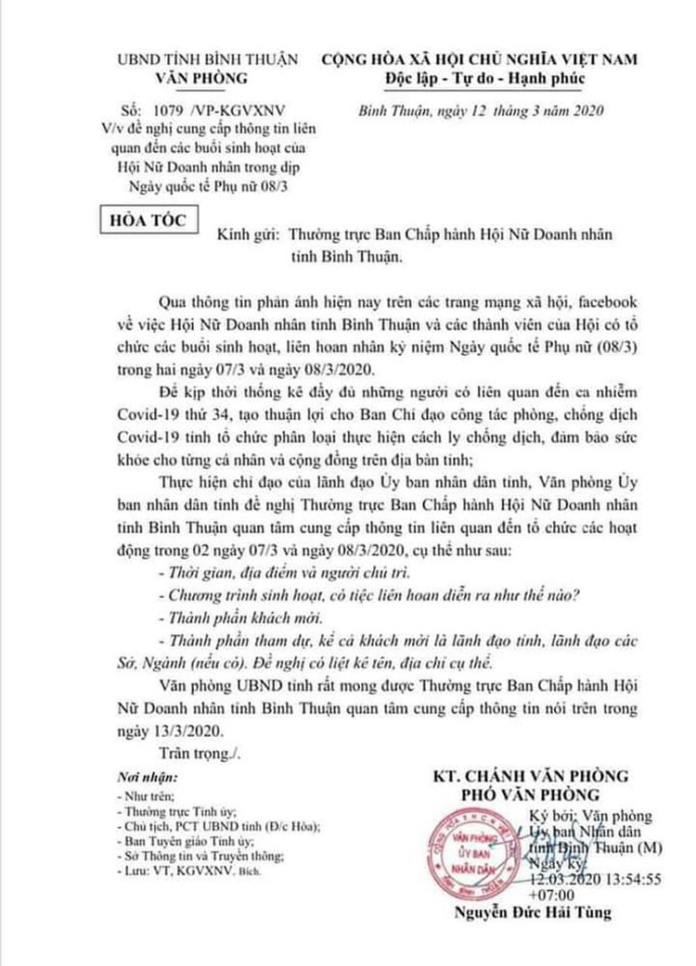 """""""Truy"""" hoạt động của bệnh nhân 34 tại Hội Nữ doanh nhân Bình Thuận ảnh 1"""