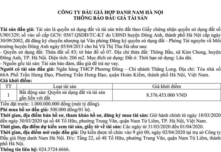 Ngày 2/4/2020, đấu giá quyền sử dụng đất tại huyện Đông Anh, Hà Nội ảnh 1