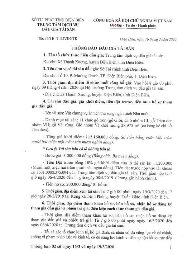 Ngày 9/4/2020, đấu giá vật chứng vụ án tịch thu sung quỹ tại tỉnh Điện Biên ảnh 1