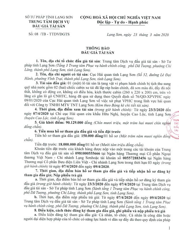 Ngày 10/4/2020, đấu giá tang vật vi phạm hành chính bị tịch thu tại tỉnh Lạng Sơn ảnh 1
