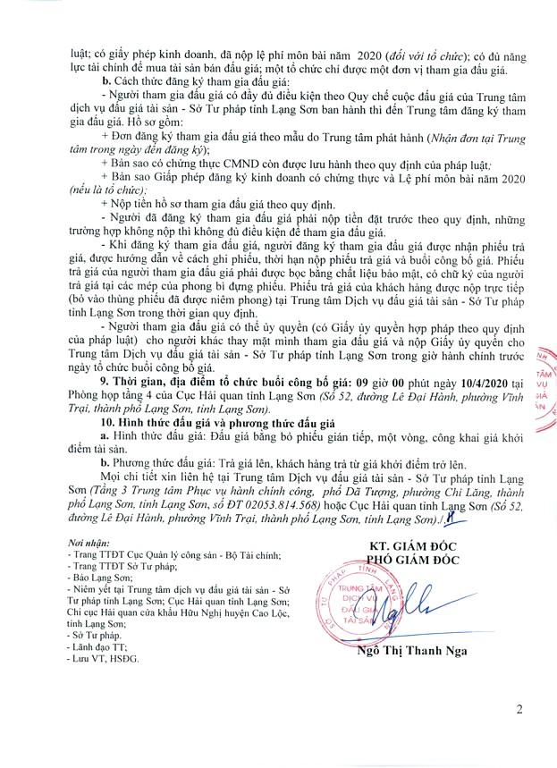 Ngày 10/4/2020, đấu giá tang vật vi phạm hành chính bị tịch thu tại tỉnh Lạng Sơn ảnh 2