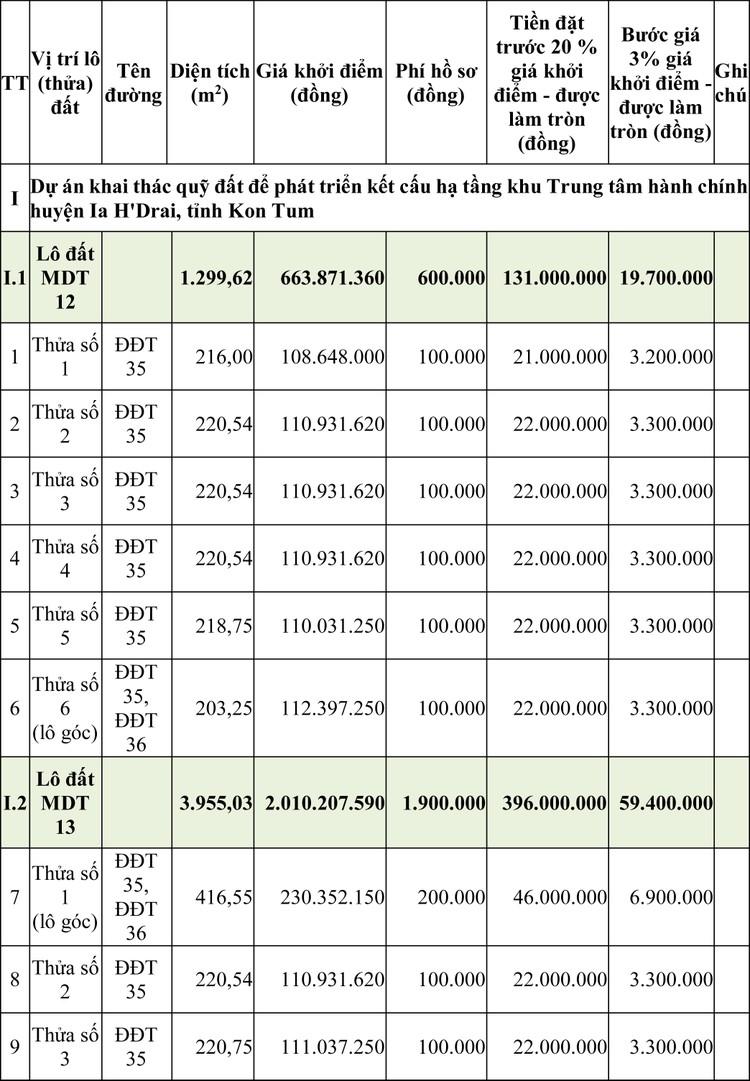 Ngày 16/4/2020, đấu giá quyền sử dụng đất tại huyện Ia H'Drai, tỉnh Kon Tum ảnh 1
