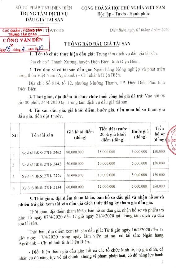 Ngày 24/4/2020, đấu giá lô xe ô tô tại tỉnh Điện Biên ảnh 1