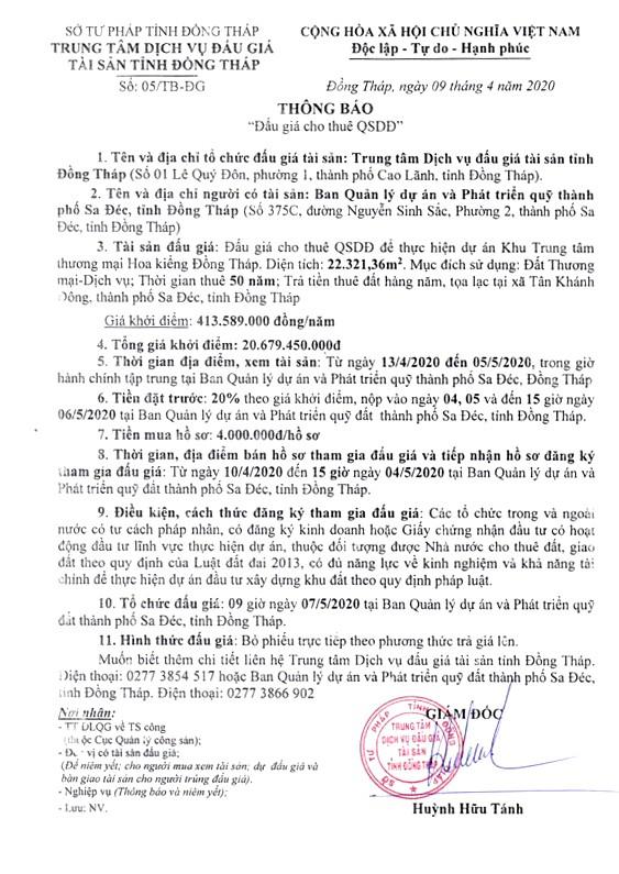 Ngày 7/5/2020, đấu giá cho thuê quyền sử dụng đất tại thành phố Sa Đéc, tỉnh Đồng Tháp ảnh 1