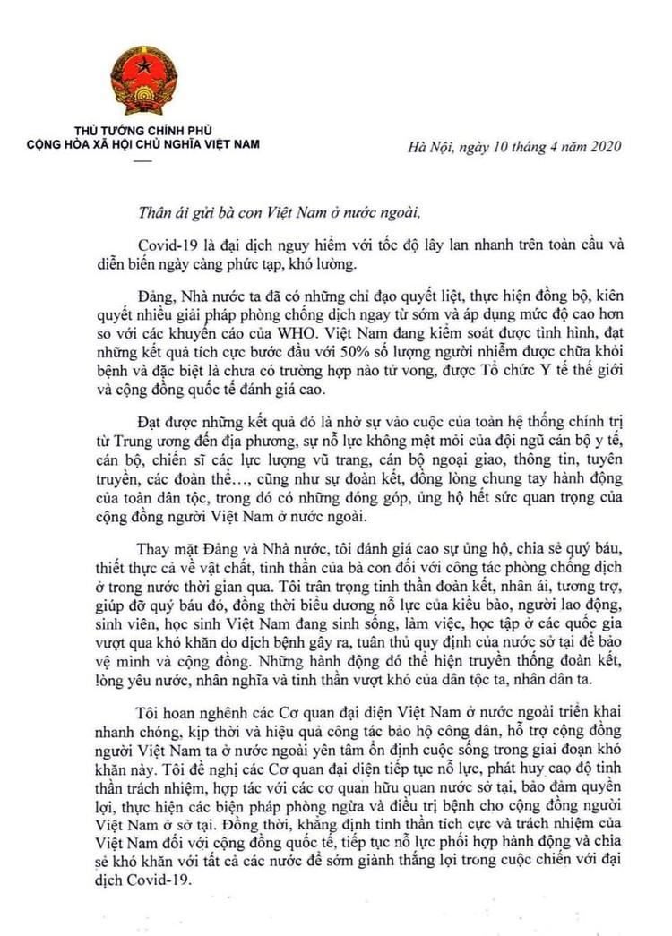 Thư của Thủ tướng gửi cộng đồng người Việt Nam ở nước ngoài ảnh 1