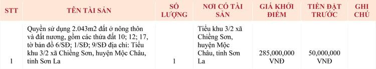 Ngày 7/5/2020, đấu giá quyền sử dụng đất tại huyện Mộc Châu, tỉnh Sơn La ảnh 1