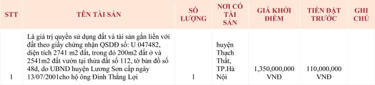 Ngày 6/5/2020, đấu giá quyền sử dụng đất tại huyện Thạch Thất, Hà Nội ảnh 1