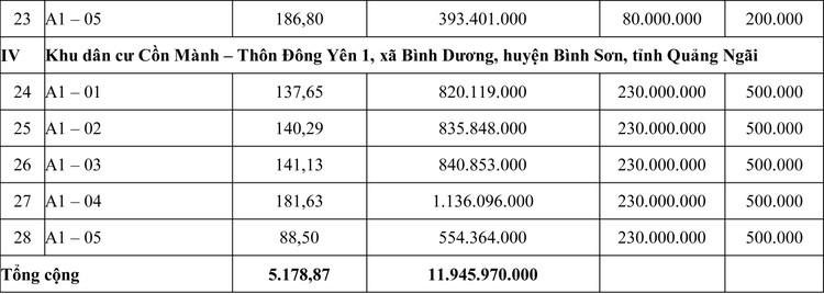 Ngày 8/5/2020, đấu giá quyền sử dụng đất tại huyện Bình Sơn, tỉnh Quảng Ngãi ảnh 3