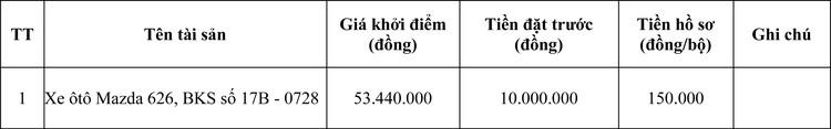 Ngày 9/5/2020, đấu giá xe ô tô Mazda 626 tại tỉnh Thái Bình ảnh 1