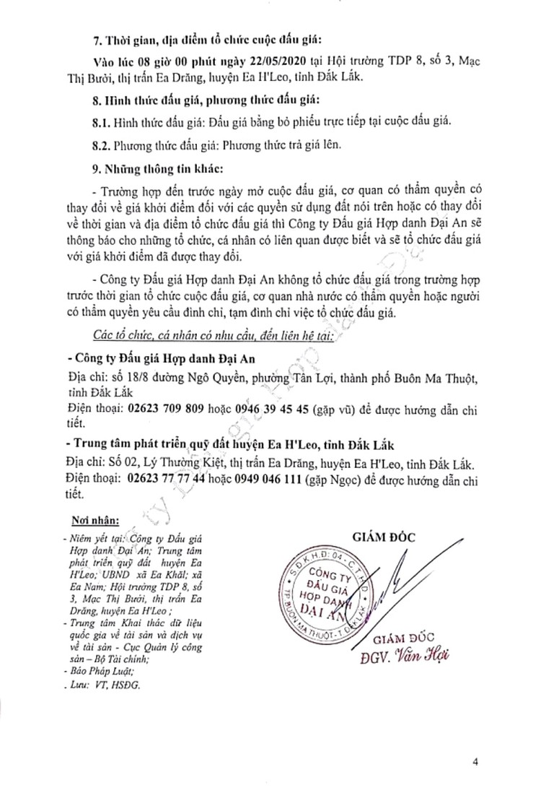 Ngày 22/5/2020, đấu giá quyền sử dụng đất tại huyện Ea H'Leo, tỉnh Đắk Lắk ảnh 4