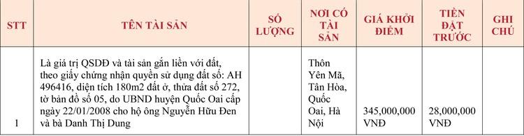 Ngày 7/5/2020, đấu giá quyền sử dụng đất tại huyện Quốc Oai, Hà Nội ảnh 1