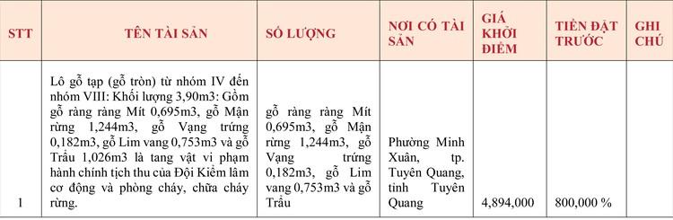 Ngày 6/5/2020, đấu giá tang vật vi phạm hành chính tịch thu sung quỹ tại tỉnh Tuyên Quang ảnh 1