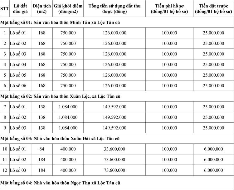 Ngày 29/5/2020, đấu giá quyền sử dụng đất tại huyện Hậu Lộc, tỉnh Thanh Hóa ảnh 1
