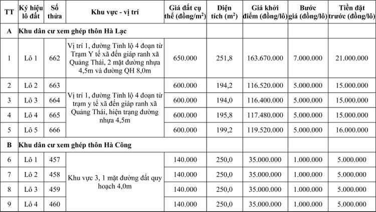 Ngày 5/6/2020, đấu giá quyền sử dụng đất tại huyện Quảng Điền, tỉnh Thừa Thiên Huế ảnh 1