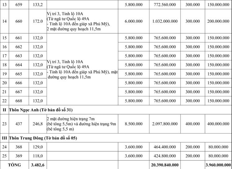 Ngày 4/6/2020, đấu giá quyền sử dụng đất tại huyện Phú Vang, tỉnh Thừa Thiên Huế ảnh 2
