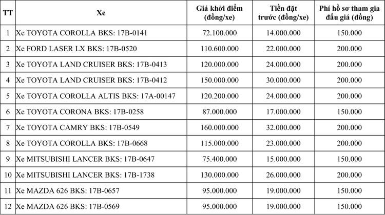 Ngày 11/6/2020, đấu giá 12 xe ôtô tại tỉnh Thái Bình ảnh 1