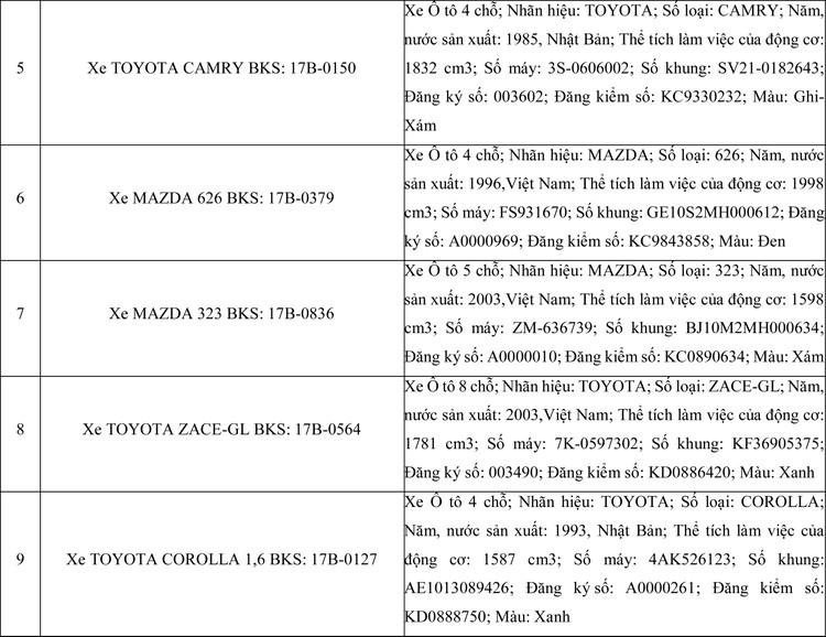 Ngày 3/6/2020, đấu giá 12 xe ôtô tại tỉnh Thái Bình ảnh 3